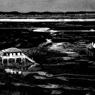 Cabanes tchanquées du bassin d'arcachon gravées à la main dans une dalle de granit noir poli, à l'aide d'une pointe diamantée.