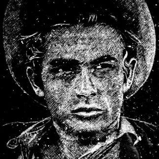 Le portrait ici présent a été réalisé à la pointe diamantée dans le granit noir poli.